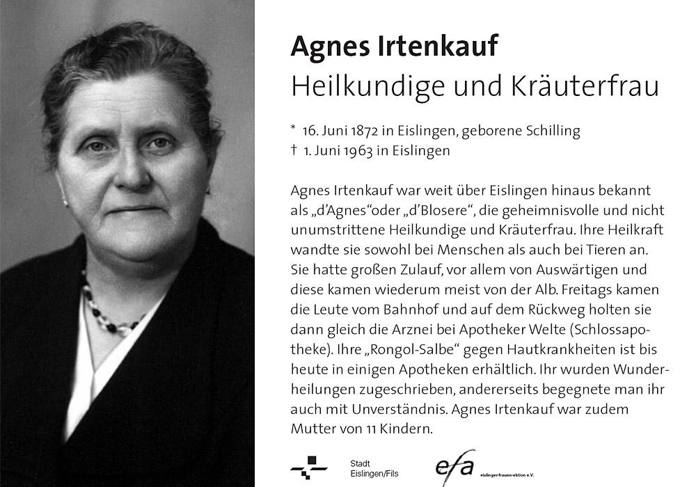 Hinweistafel Agnes Irtenkauf
