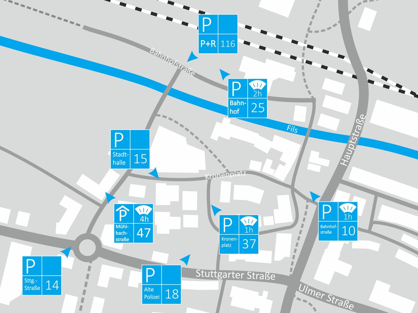 Parken Bereich Bahnhof/Stadthalle
