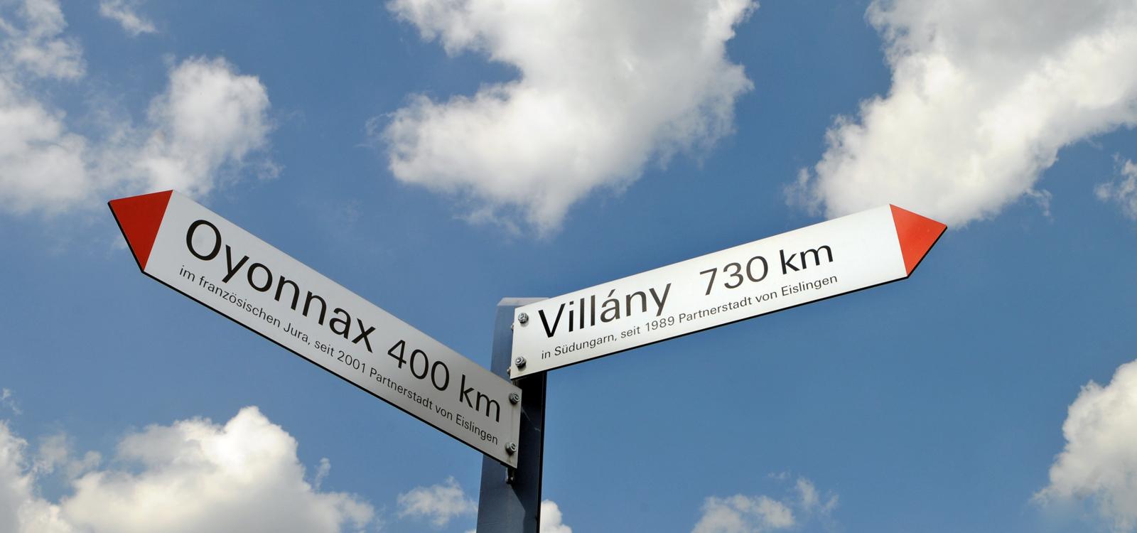 Der Wegweiser vor der Alten Post zeigt die Entfernung in Luftlinie in die beiden Partnerstädte nach Frankreich und Ungarn
