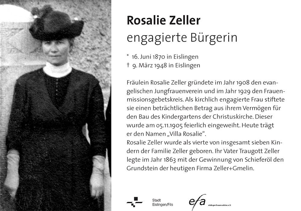 Hinweistafel Rosalie Zeller
