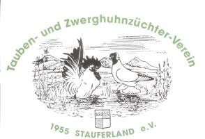 Symbolisch eine Taube und Zwerghuhn, im Hintergrund die Stauferberge