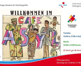 Plakat für das Café Asyl