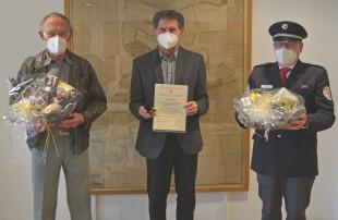 von links nach rechts: Gerhard Kneifel, Oberbürgermeister Klaus Heininger und Thomas Ruckh