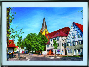 Gemälde von Eislinger Gebäuden im Bilderrahmen