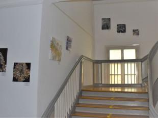Das Treppenhaus in der Bücherei im Schloss. An den Wänden hängen mehrere Kunstwerke des Künstlers.
