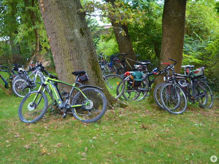 geparkte Fahrräder im Schlosspark