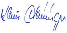 Unterschrift Oberbürgermeister Klaus Heininger