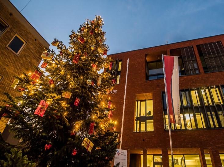 Ein geschmückter Weihnachtsbaum vor dem Rathaus