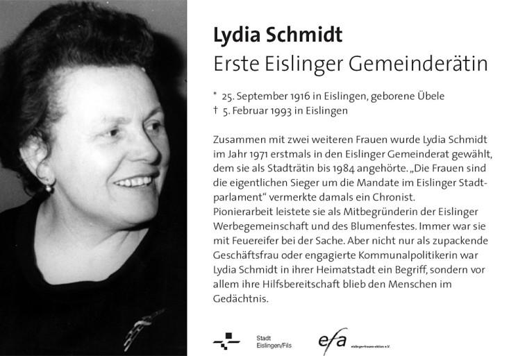 Hinweistafel Lydia Schmidt